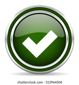 accept green glossy web icon modern design with double metallic silver border on white background with shadow for web and mobile app round internet original button for business usage