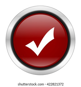 accept icon, red round button isolated on white background, web design illustration