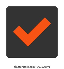 Accept icon. This flat rounded square button uses orange and gray colors and isolated on a white background.