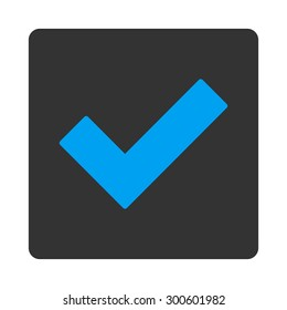 Accept icon. This flat rounded square button uses blue and gray colors and isolated on a white background.