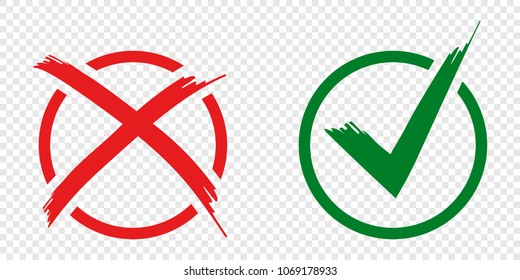 Acceptance and rejection symbol buttons for vote, election choice. Circle brush stroke borders. Symbolic OK and X icon isolated on white.Tick and cross signs, checkmarks design