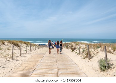 Access to the beach of Le Porge, near Lacanau, on the French Atlantic coast