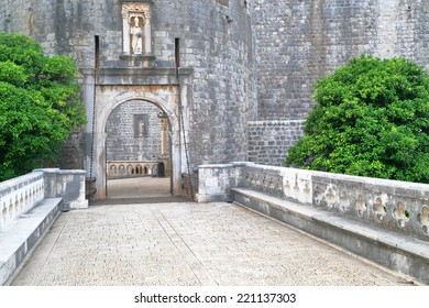 Access bridge to the main gate of old town of Dubrovnik, Croatia