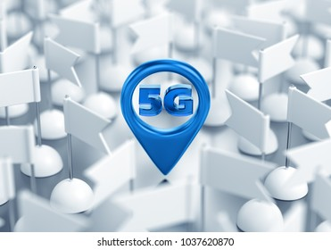 Access Point Location Of 5G Wireless Network. 3D rendering graphic composition on the subject of 'New Generation Of Wireless Technologies'.