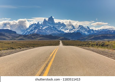 Access road to Los Glaciares national park in Patagonia