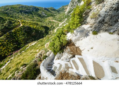 access stairs and through the valley to Pythagoras cave, Greece, the island of Samos