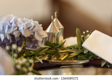 Accessoirs setting for wedding ceremony in church
