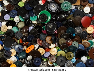 Accessories. Lot of colorful plastic clothing buttons.