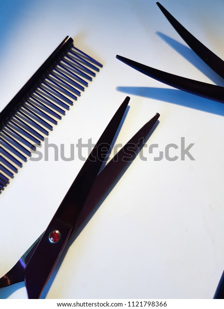 Accessories for a hairstyle. Grooming dogs. Haircut people. Scissors for hair care. Purple scissors and comb. Play of light. Style and fashion