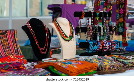 Accessories and jewelry display at art and craft market