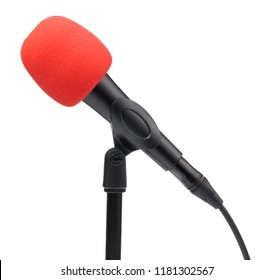 Accessories red sponge on head microphone isolated on white background.