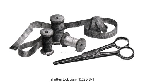 Accessories for sewing, scissors, spools, tape measure. Pencil drawing.