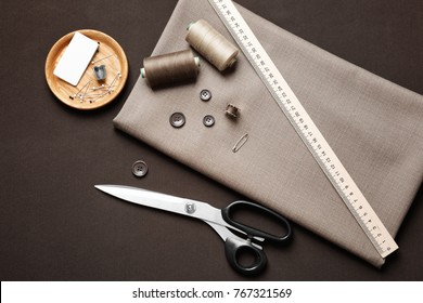 Accessories for tailoring on table