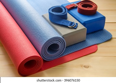 Accessories for yoga.Mat, foam block and strap.
