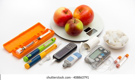 Accessories you need to control diabetes - Diabetic care, monitor, patient, test, concept - Insulin pump, blood sugar meter, healthy food, pen injectors