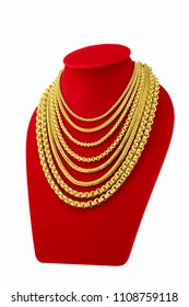 Accessory gold, jewelry presentation in shop, Gold necklace on mannequin,