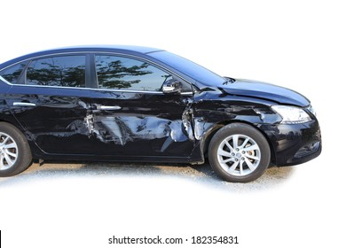 An accident with a black car isolated on white, Black limousine was hit and dented the door damaged.