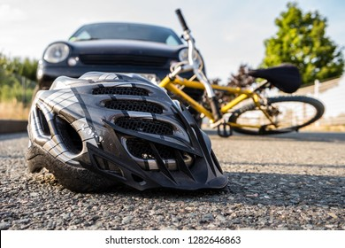 Accident by bike with helmet