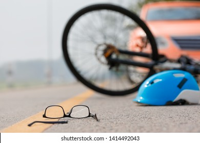 Accident car crash with bicycle on road because drunk driving