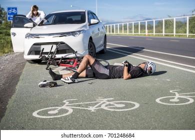 Accident car crash bicycle on bike lane.