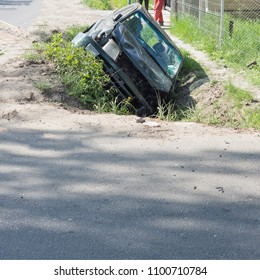 Accident car in a ditch