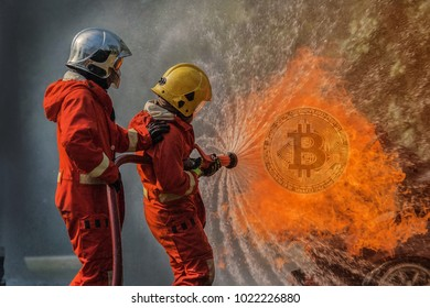 Accident. Concept of Bitcoin Price falling. on fire control Expansion