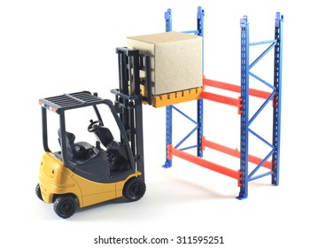 Accident of Electrial forklift and rack isolated on a white background