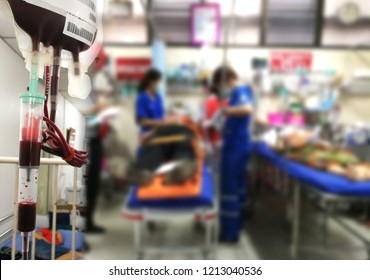 Accident and emergency and blood supply patients in emergency room,blur