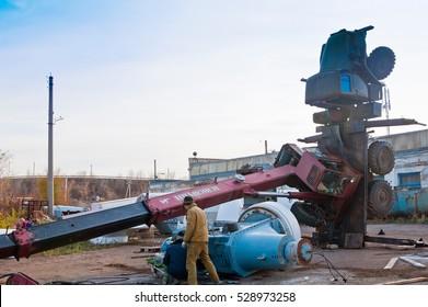 Accident. The fallen crane. Orenburg, Russia. 24.10.2012