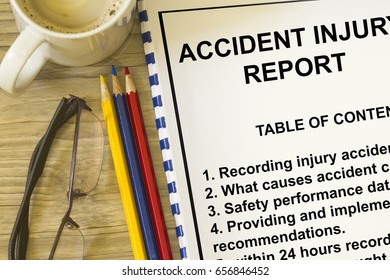 Accident injury reporting concept- with table of contents lecture cover sheet.