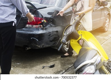 Accident of motorcycle and car