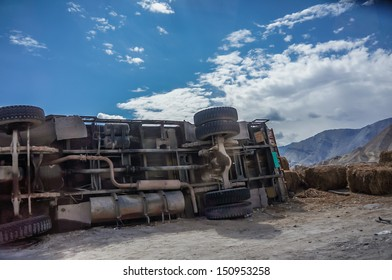 An accident is occasionally found on high mountain route to Nubra Valley.