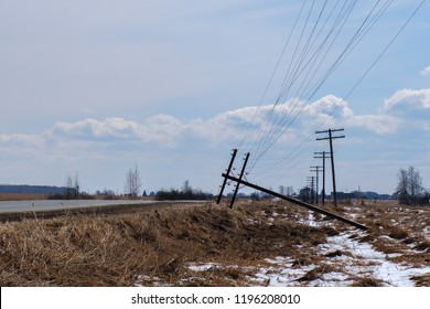 an accident on the power line, dropped a support standing along the road there is no electricity in the village