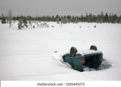 Accident on snowy winter road. Car crashed.