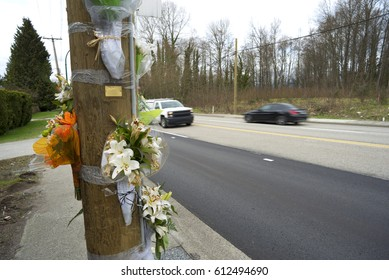 Accident place, electrical pylons and flowers