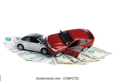 Accident two cars, money on white background