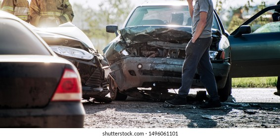 accident of two cars on the road at shallow depth of field