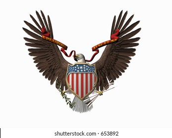 Accipitridae, the american bald eagle, united states seal. 3D render, illustration over white. Out of many, one.  E pluribus unum.