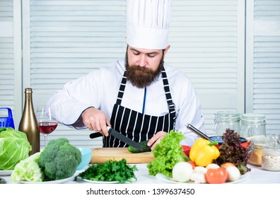 According to recipe. Prepare ingredient for cooking. Useful for significant amount of cooking methods. Basic cooking processes. Man master chef or amateur cooking food. Sharp knife chopping vegetable.