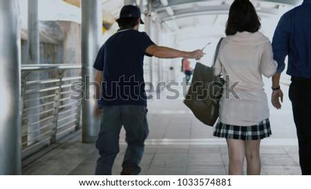 According Stolen Back Woman Walking Girlfriend Stock Photo