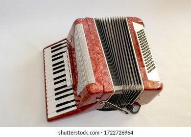 accordion close up on a white background