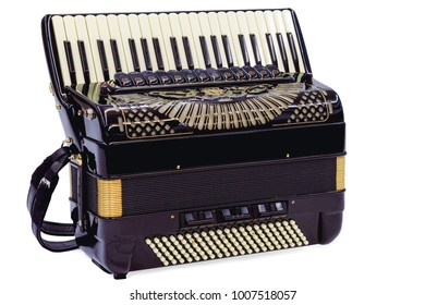 Accordion isolated in white. Accordion in closeup key while waiting for the interpreter