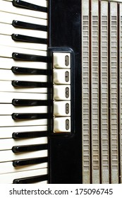 Accordion keyboard closeup