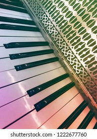 Accordion Keys in Abstract Photograph Piano