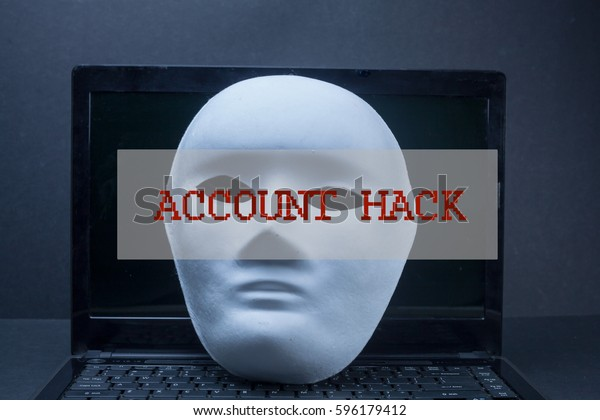 Account Hack Wordmask Laptop Over Black Stock Photo (Edit Now) 596179412