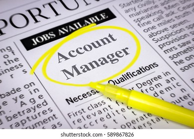 Account manager - Newspaper sheet with ads and job search, circled with yellow marker