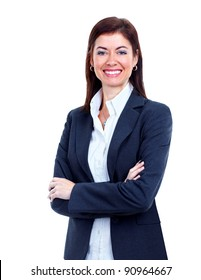 Accountant business woman. Isolated over white background.