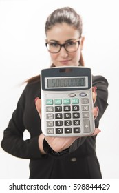 Accountant business woman showing a calculator