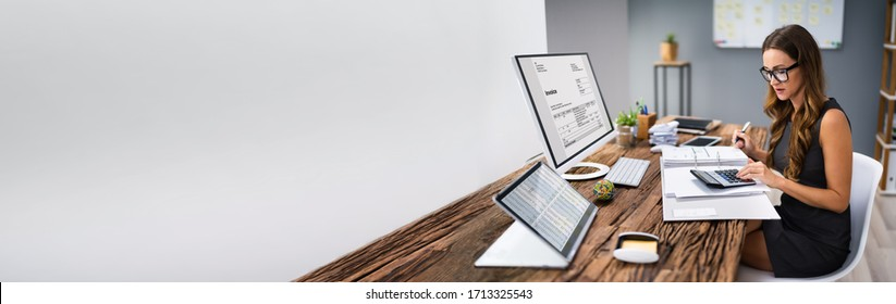 Accountant Calculating E Invoice For Taxation And Audit