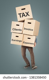 Accountant carrying a large stack of cardboard boxes labeled with: tax, clients, invoice, earnings, expenses